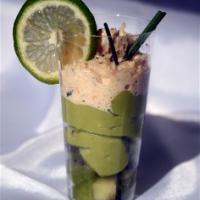 Verrine Kiwi/guacamol/crabe
